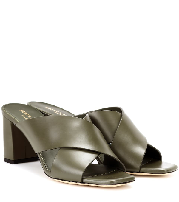 f4bef243b251b0 Saint Laurent Lou Lou Brushed Slide Sandal In Green