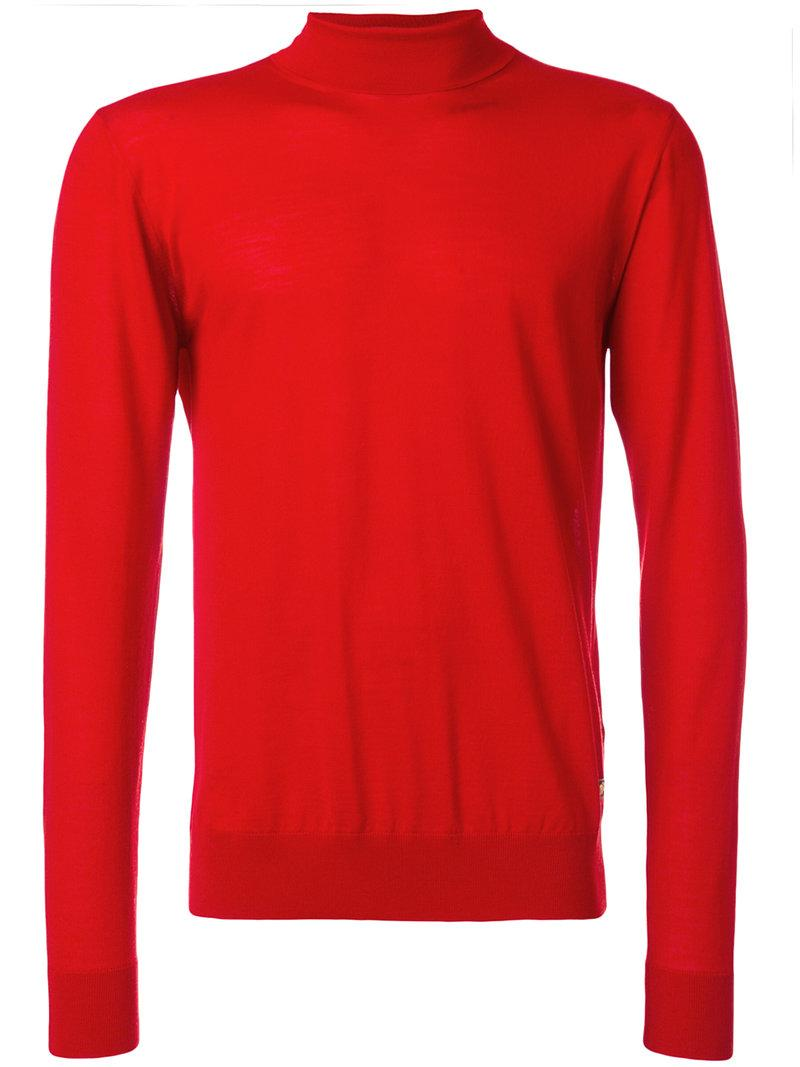 Versace Turtleneck Slim-fit Jumper - Red