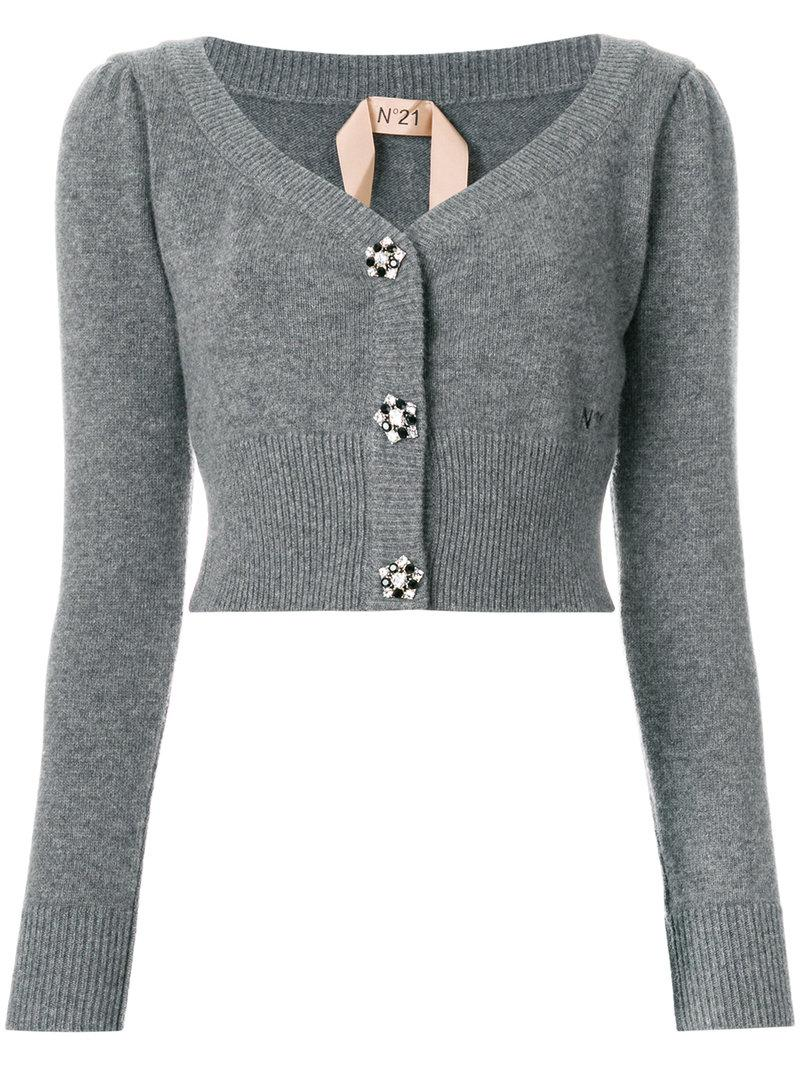 N°21 Cropped Embellished Button Cardigan