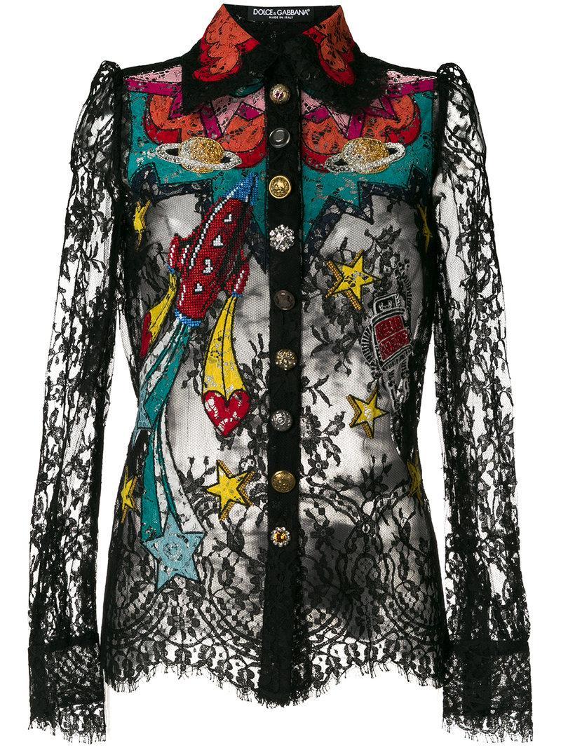 Dolce & Gabbana Space Patch Lace Shirt