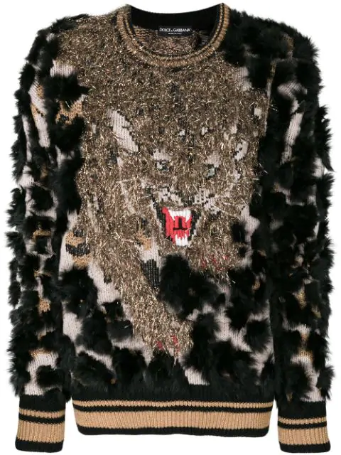 Dolce & Gabbana Wool Sweater With Lapin Details In Black