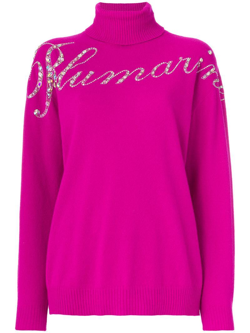Blumarine Sequinned Logo Sweater