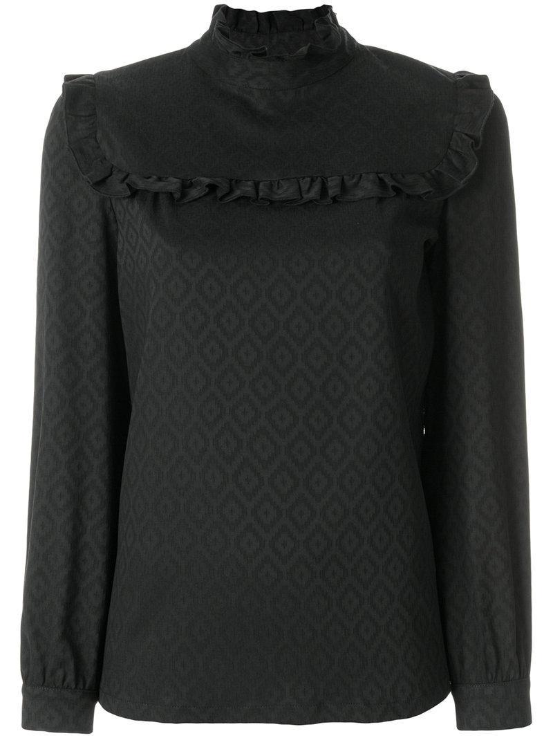 A.p.c. Frill Bib Blouse In Black