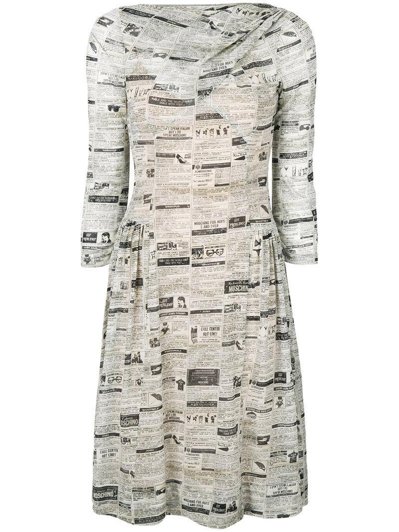 Moschino Newspaper Mesh Skater Dress