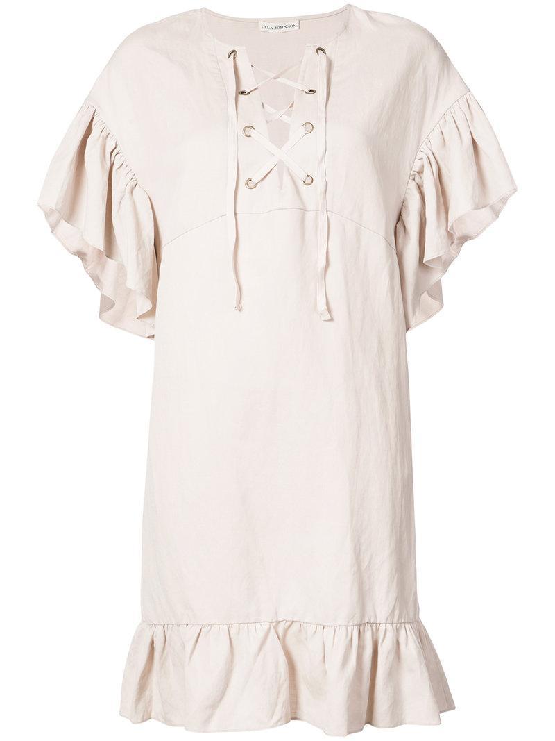 Ulla Johnson Lace-up Ruffle Dress
