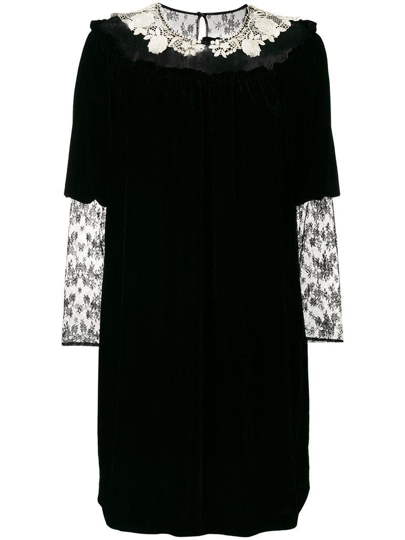 Blugirl Lace Insert Velvet Dress