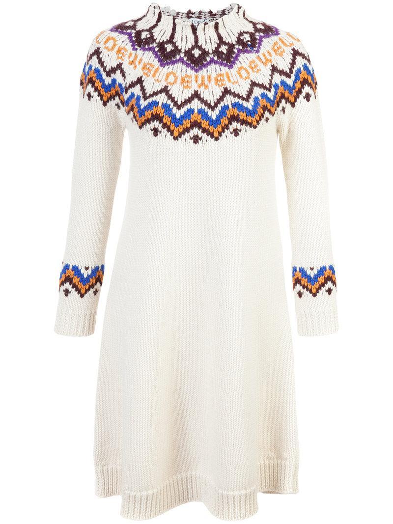 Loewe Wool And Alpaca-blend Sweater Dress In White