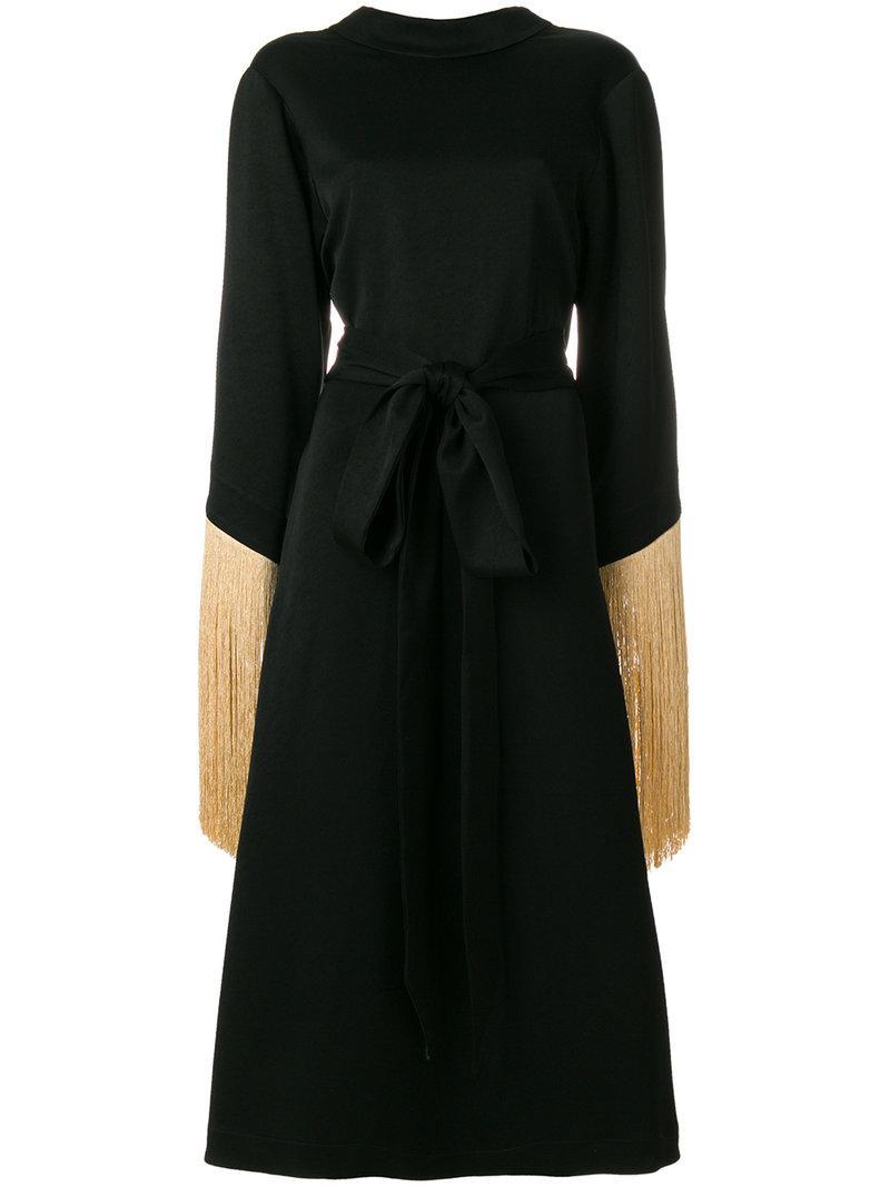 Ellery Wide Tasseled Sleeve Dress - Black