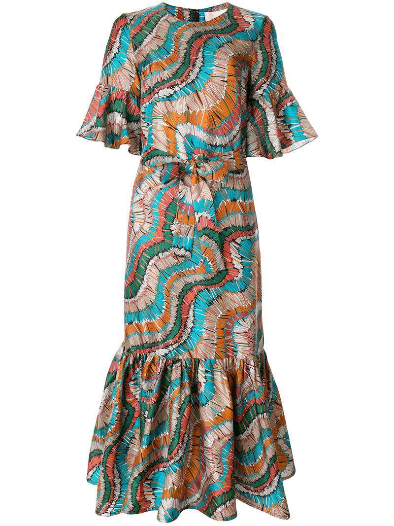 La Doublej Fiammiferi Curly Swing Dress In Blue