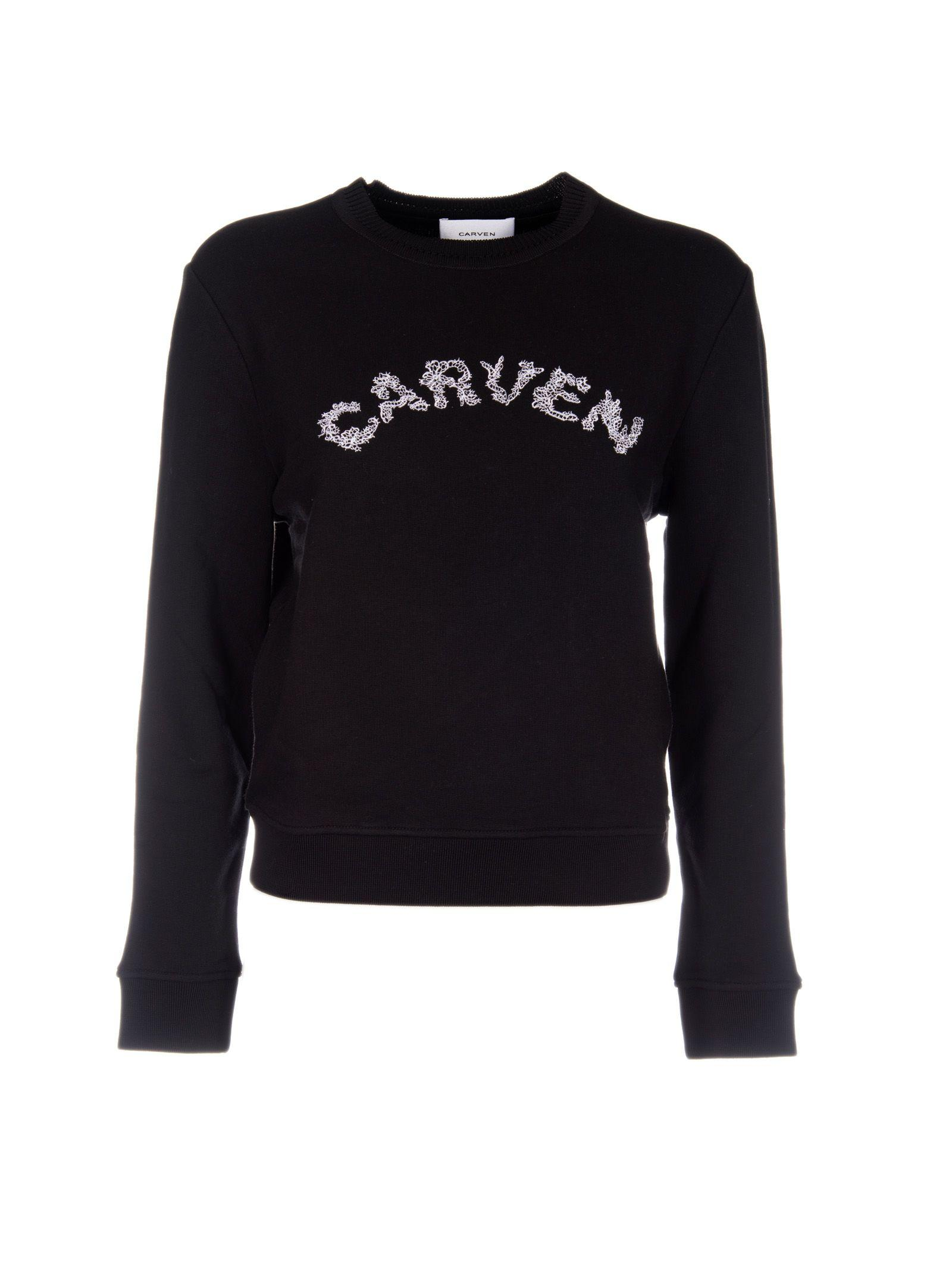 Carven Logo Sweatshirt In Black