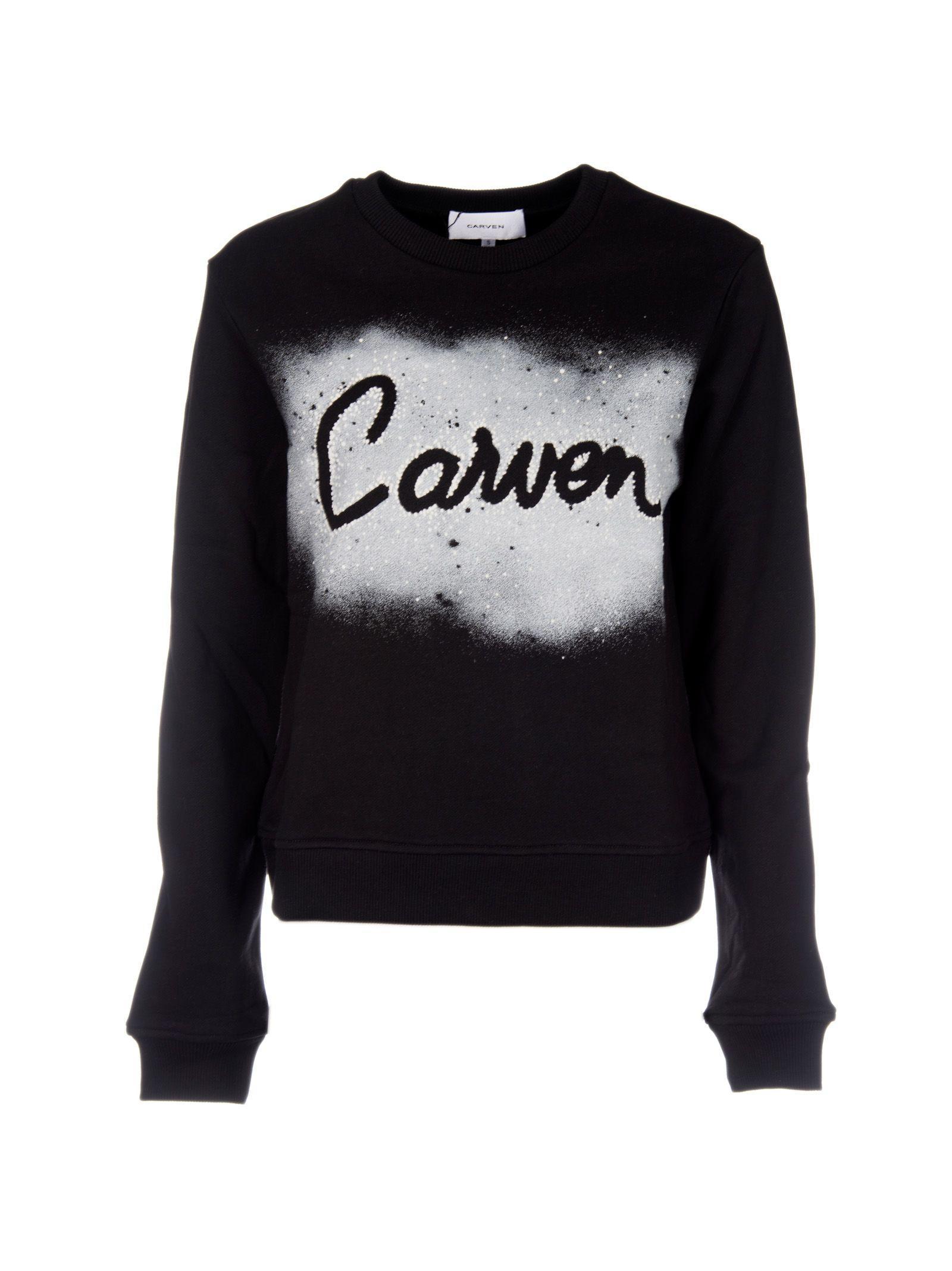 Carven Spray Print Logo Sweatshirt In Black