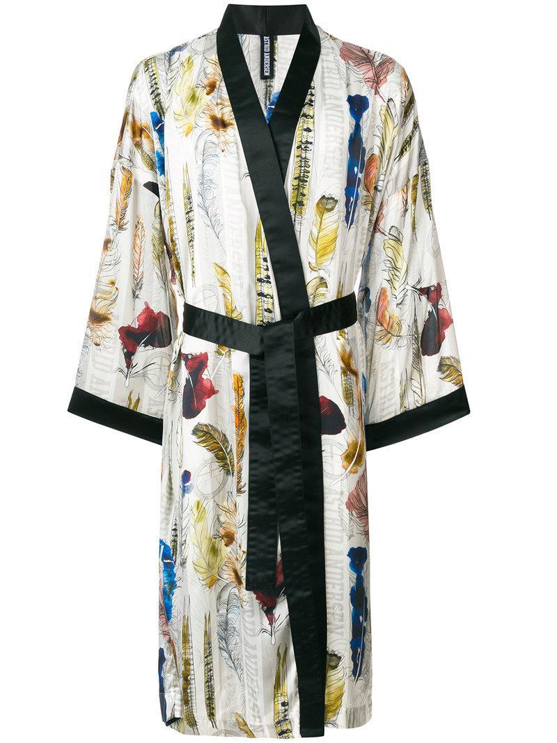 Astrid Andersen Satin Feather Print Kimono