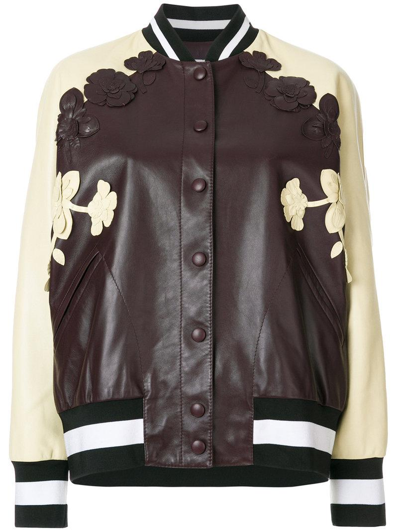 Valentino Varsity Jacket With Floral AppliquÉs