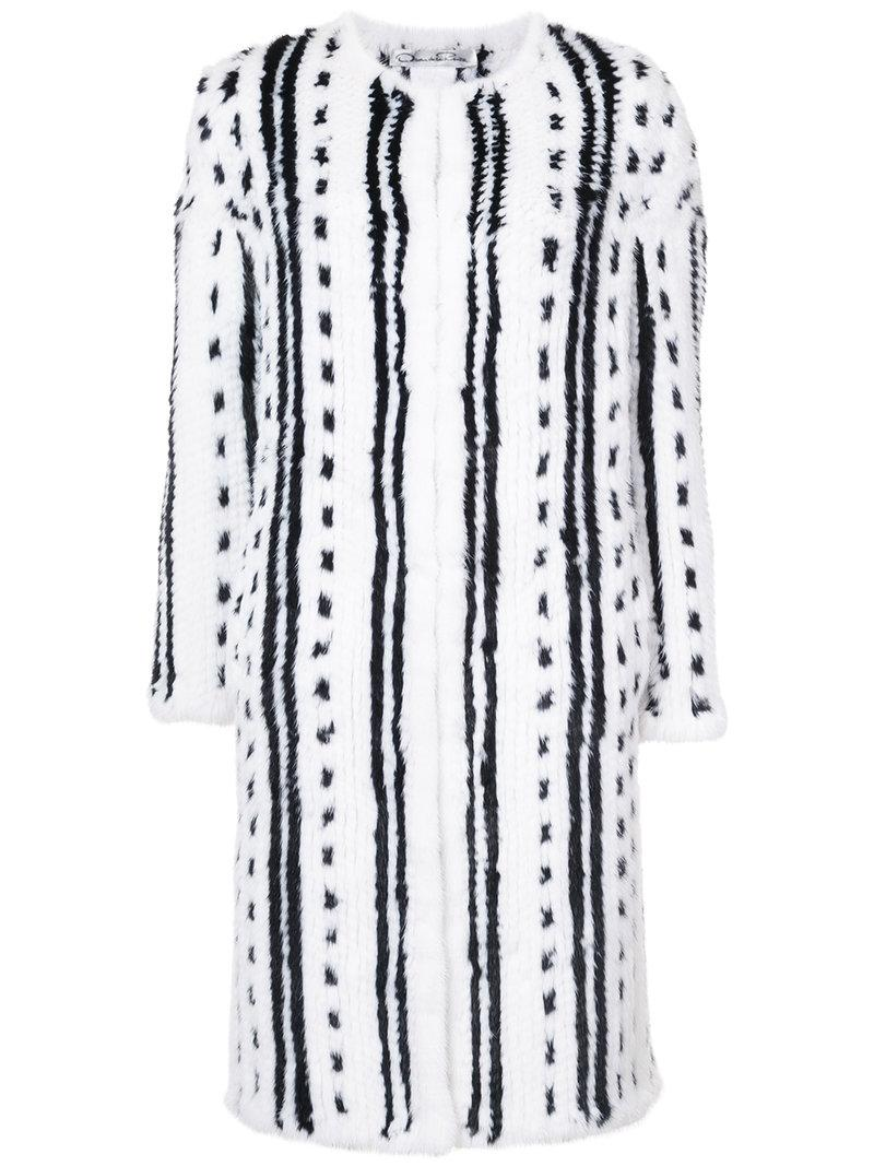 Oscar De La Renta Two-tone Knitted Coat
