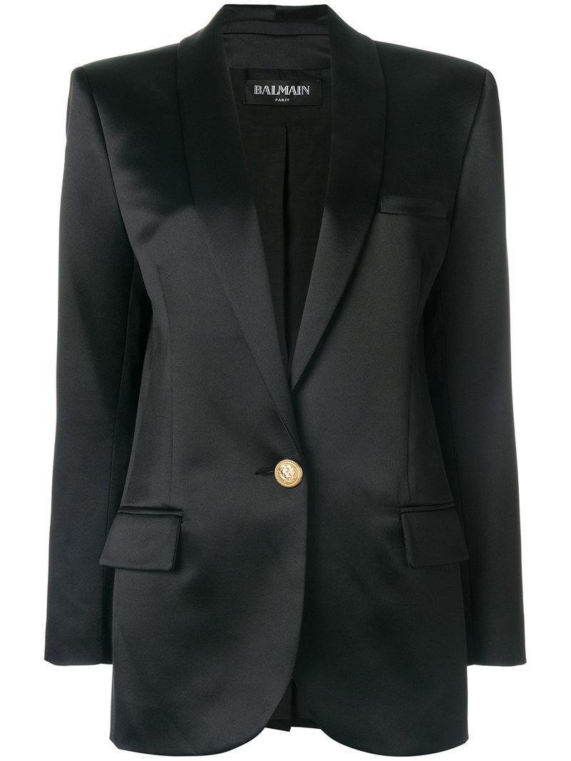 Balmain Buttoned Logo Blazer - Black
