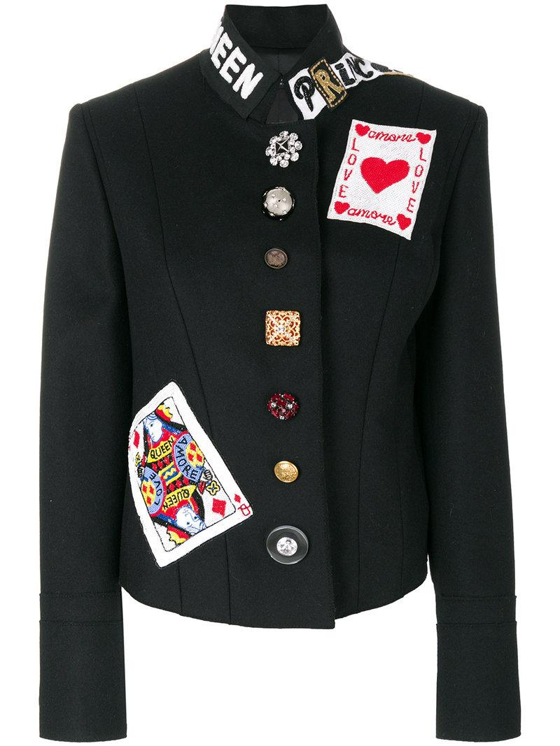 Dolce & Gabbana Wool Jacket With Patch In Black