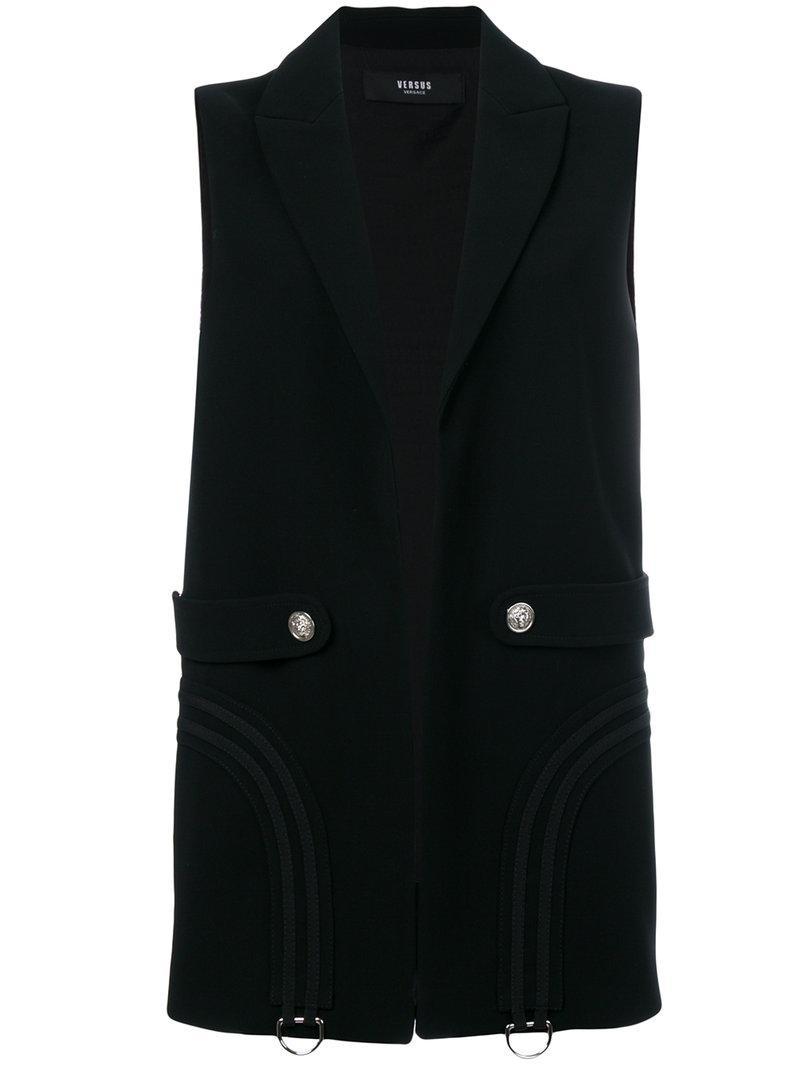 Versus Sleeveless Blazer Jacket In Black