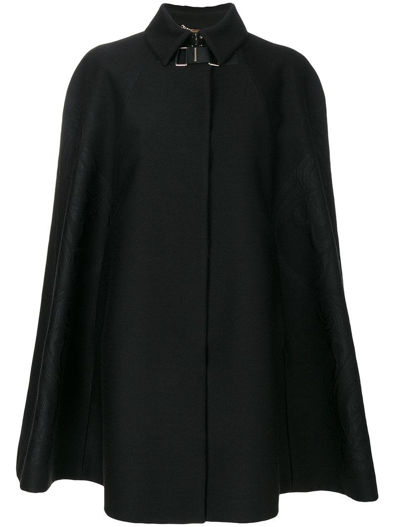 Versace Baroque Embroidered Cape In Black