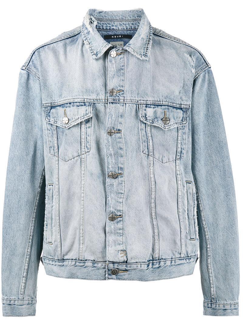 Ksubi X Travis Scott Oh G Ghosted Denim Jacket In Blue