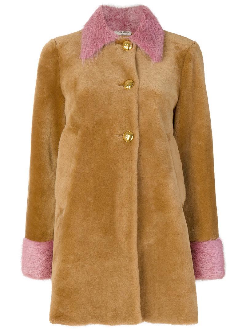 Miu Miu Contrast Fur Coat - Brown