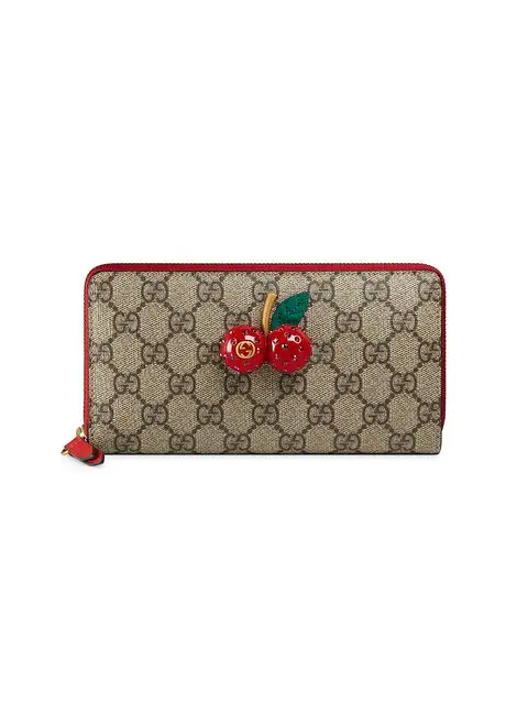 Gucci Gg Supreme Zip Around Wallet With Cherries In Brown