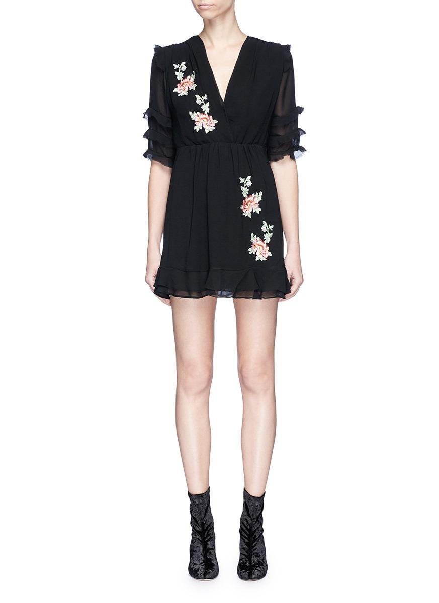 Ivy Park Floral Embroidered Ruffle Crepe Tea Dress