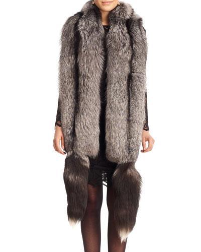 Gorski Fox Fur Boa With Detachable Tails In Black