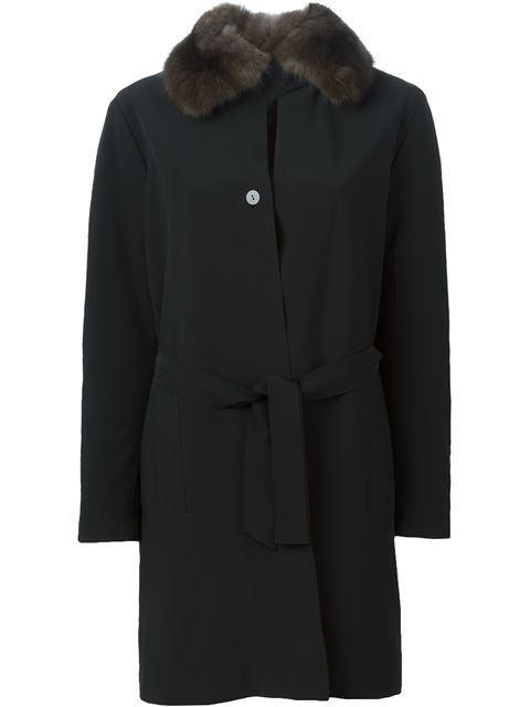 Liska Weasel Fur Collar Coat - Black