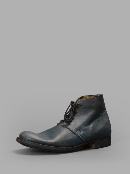 Delle Cose Blue Painted Leather Lace-up Ankle Boots