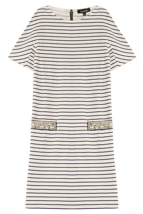 Tara Jarmon Striped Cotton Dress With Embellishment In Stripes