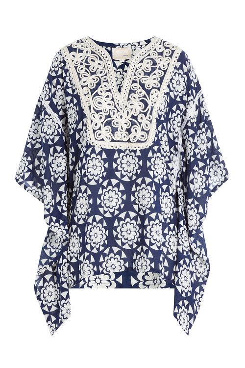 Gooshwa Embroidered Caftan In Blue