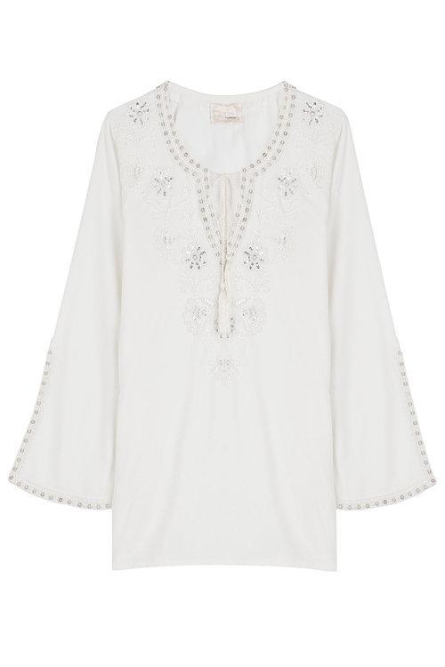 Gooshwa Embellished Tunic In White