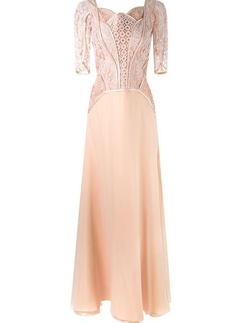 Martha Medeiros Lace Top Gown In Pink