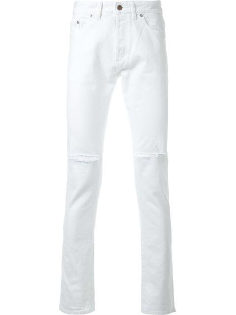 Hl Heddie Lovu Distressed Slim-fit Jeans In White