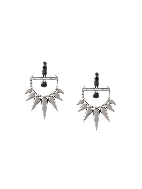 Elise Dray 18kt Gold And Diamond Drop Spiked Earrings In Metallic