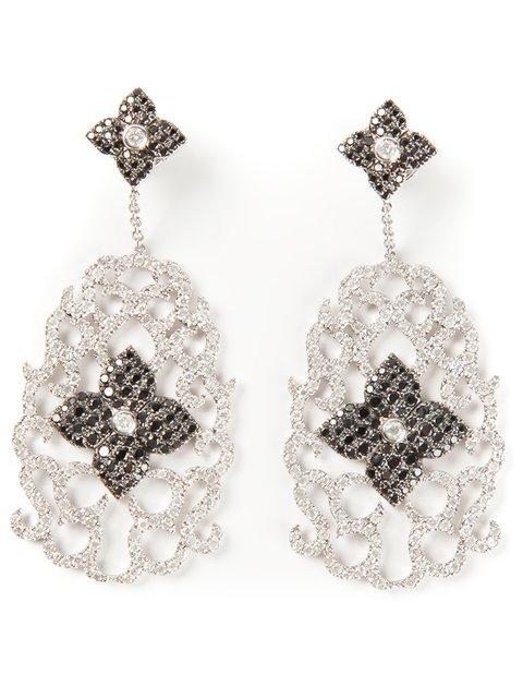 Elise Dray Diamond Floral Pavé Earrings In Metallic