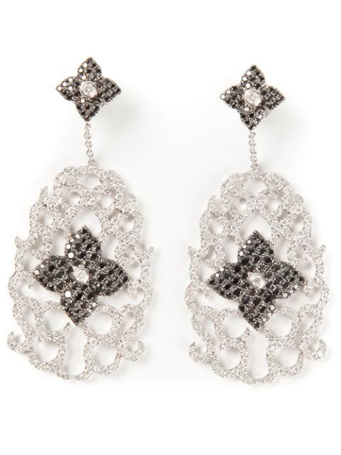 Elise Dray Diamond Floral Pavé Earrings In Metallic