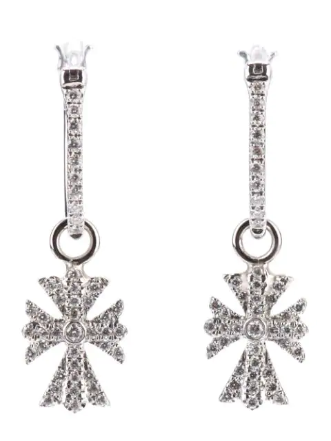 Elise Dray Diamond Cross Earrings In Metallic