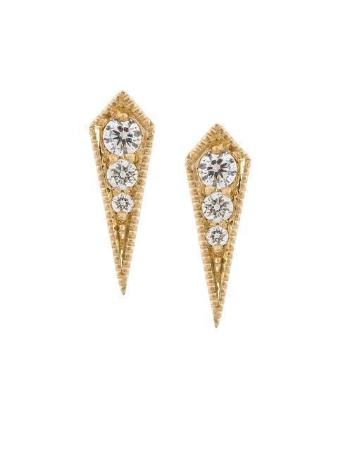 Lizzie Mandler Fine Jewelry 18kt 'kite' Goldohrstecker Mit Diamanten In Metallic