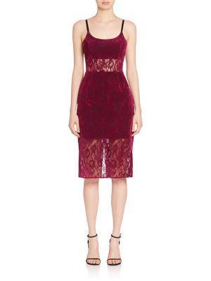 Abs By Allen Schwartz Sheer Panel Lace Sheath Dress In Mulberry