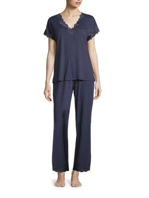 Natori Sleepwear Zen Floral Pajama Set In Night Blue