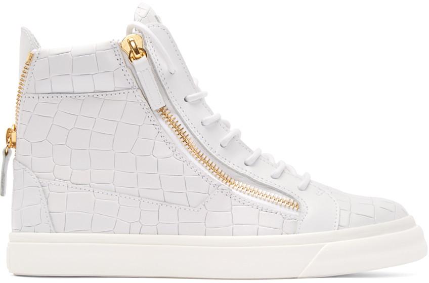 779d598c1cf8f Giuseppe Zanotti Men. GIUSEPPE ZANOTTI. Men's Crocodile-Embossed Leather  High-Top Sneaker, White