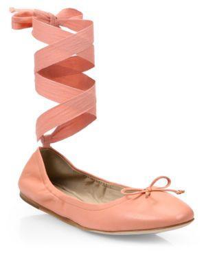 5420542e1c Saks Fifth Avenue Leather Ankle-Wrap Ballet Flats In Salmon | ModeSens