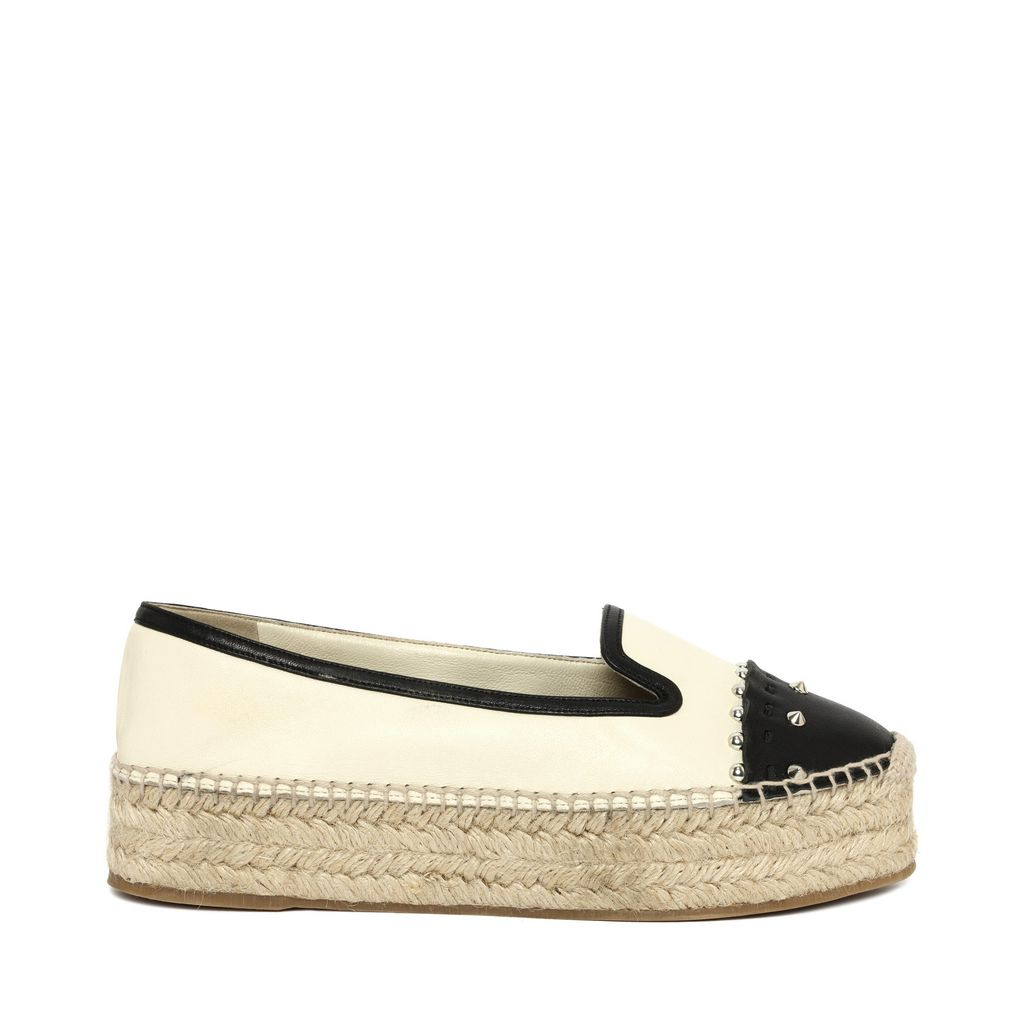 Alexander Mcqueen Two Tone Stud Nappa Leather Espadrilles In Ivory/Black