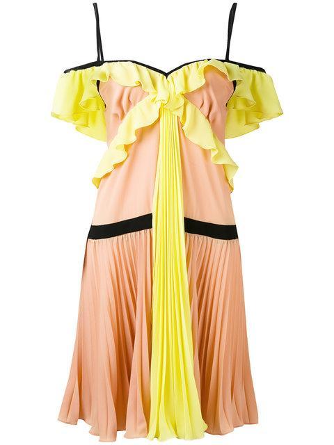 Marco Bologna Crepe Georgette Pleated Dress In Multicolour