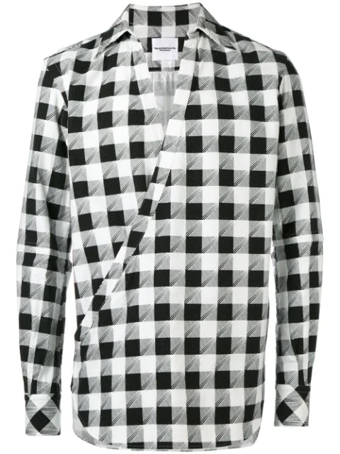 The Soloist Check-print Crossover Shirt In Black
