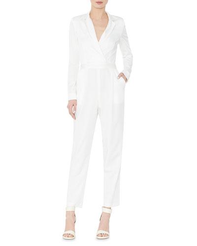 52ea65326cb3 ALICE AND OLIVIA. Violetta Long-Sleeve Tuxedo Jumpsuit ...