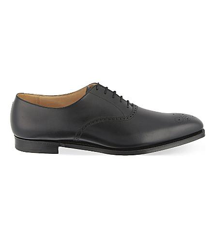 Crockett & Jones Edgeware Punched Leather Oxford Shoes In Black