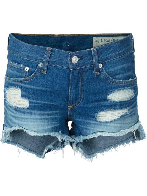 Rag & Bone Distressed Denim Shorts In Blue
