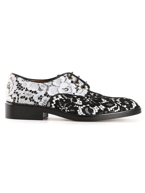 Givenchy Chain-Embellished Leather & Lace Oxfords In Black/White